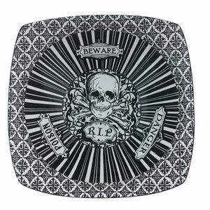 "222 Fifth 10"" Black & White Halloween Skulls Bowl"